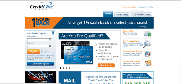 creditone homepage in credit cards for people with bad credit