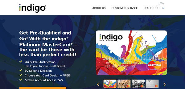 indigo credit card in credit cards for people with bad credit