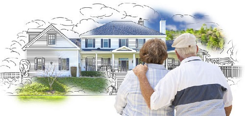 Reverse mortgage pros and cons: seniors dreaming about a house.