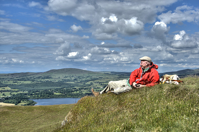 Man relaxing on a hill