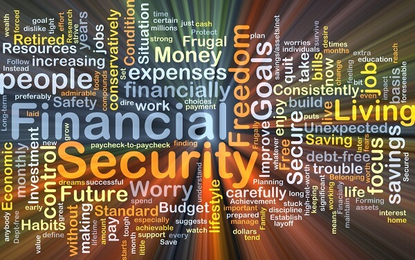 frugal living with financial security concept art