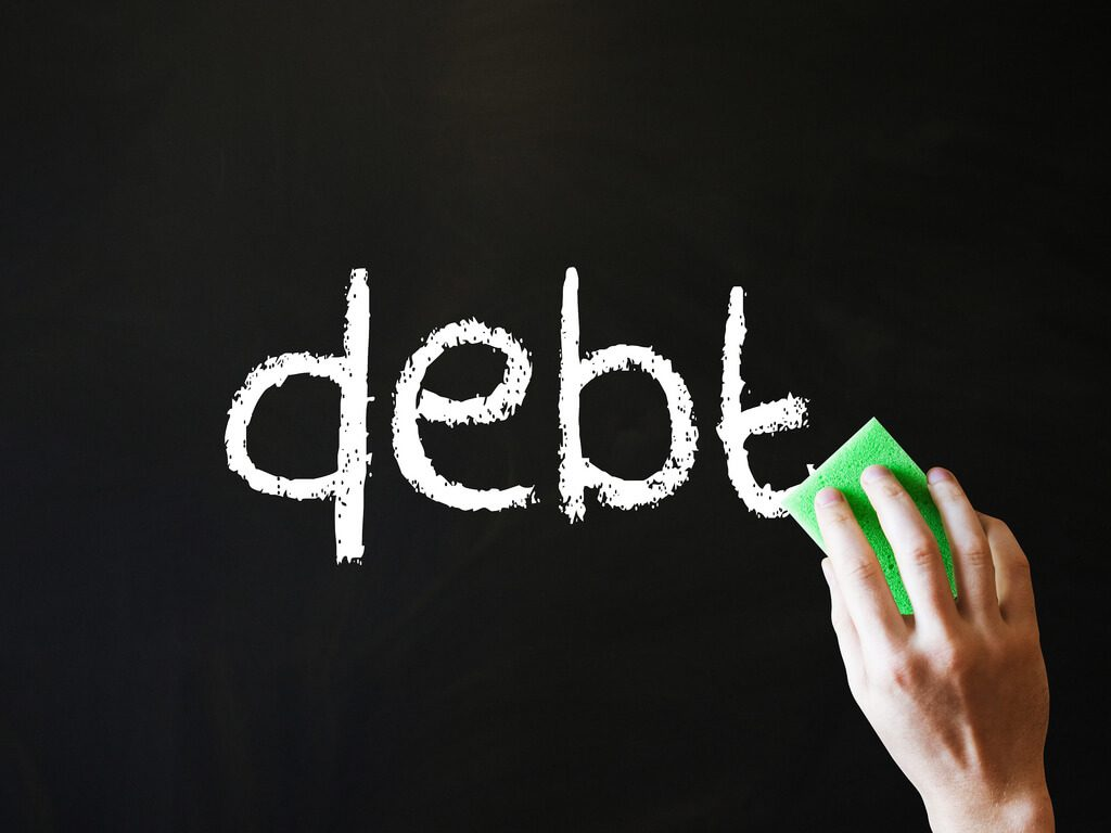 Debt word symbolizing people who don't know how to get rid of student loans.