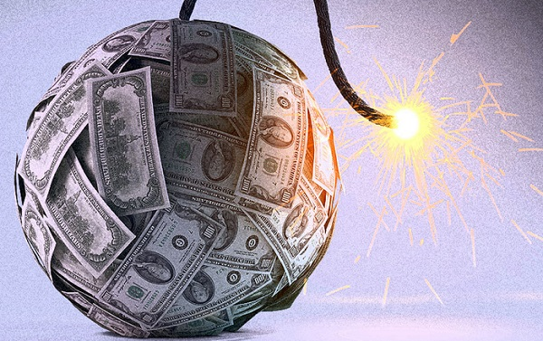 Student loan forgiveness for teachers represented by a money bomb.