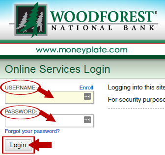 Woodforest online banking login menu