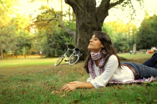 Woman relaxing in a park
