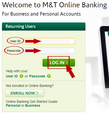 M&T Web Online Banking Login second option