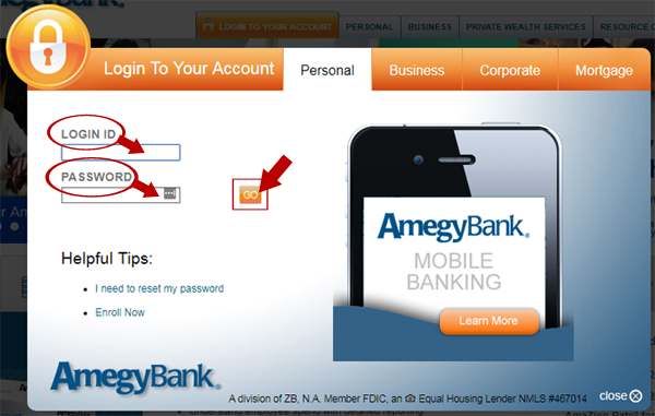 Amegy Bank login Step 2