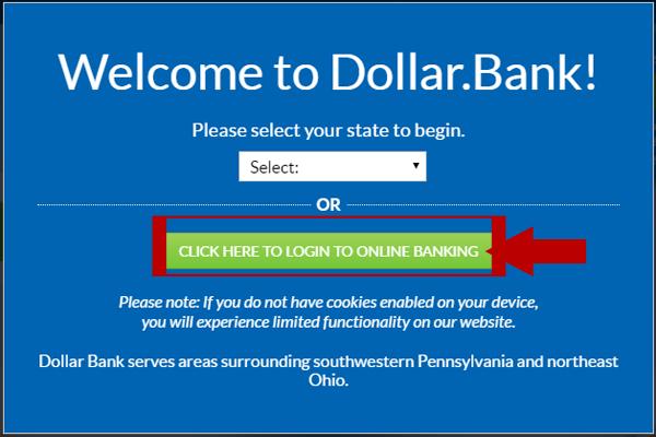 Dollar Bank Online Banking Login Step 1