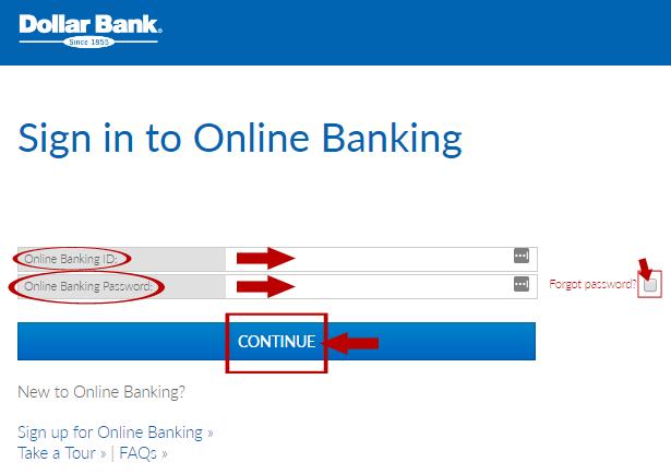 Dollar Bank Online Banking Login Step 2