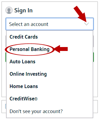 Capital One Online Banking Login Step 1