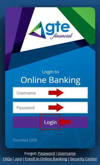 GTE Online Banking Login Step menu