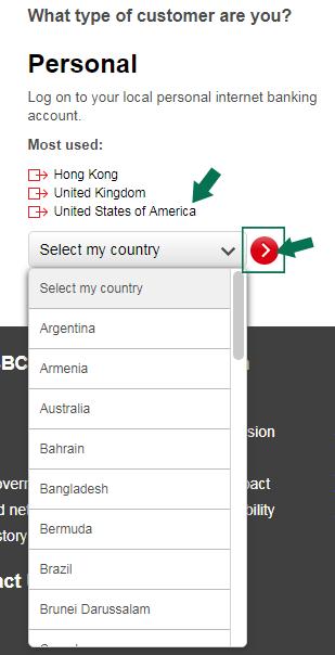 HSBC Online Banking Login Step 2