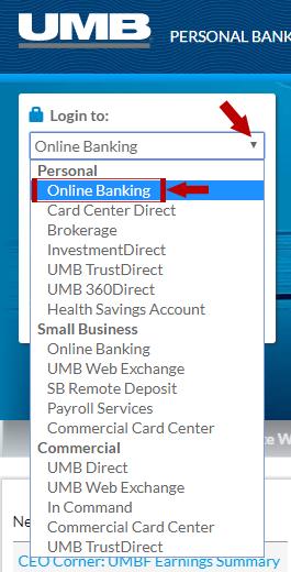 UMB Online Banking Login Step 1