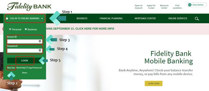 fidelity bank account login