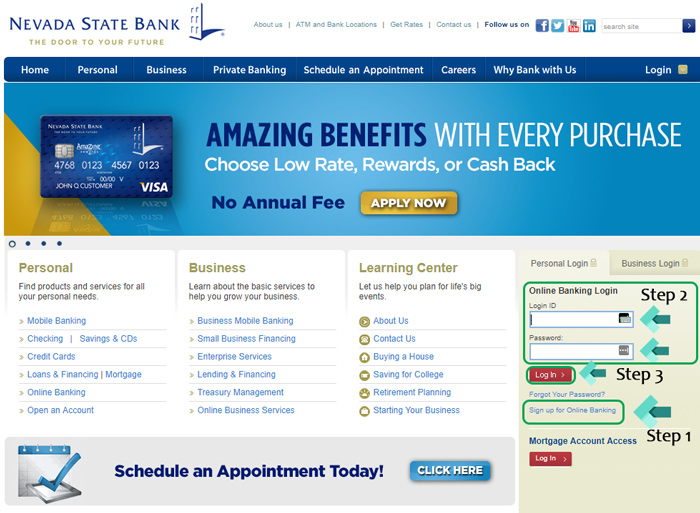nevada state bank landing page