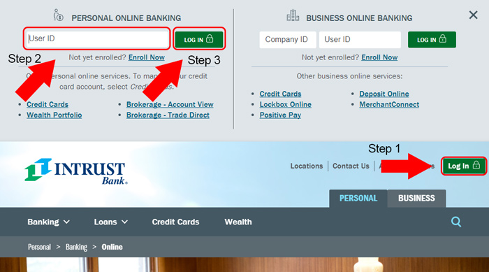 intrust bank website login
