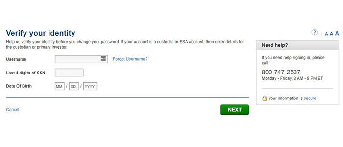 ING ShareBuilder Reset Password