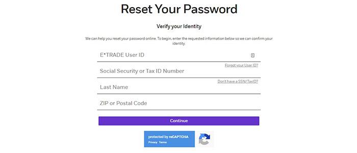 TradeMONSTER Reset Password