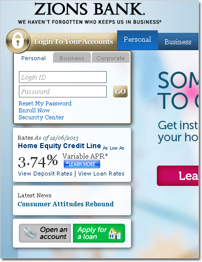 zion bank log in account