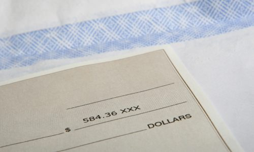 A cheque close up